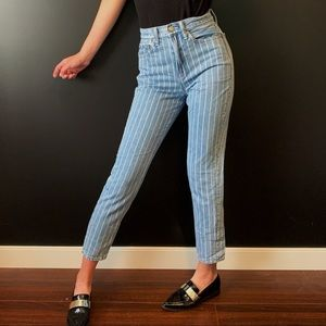 High Waisted Striped American eagle mom jeans 00